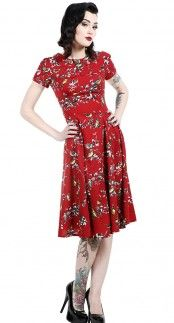 Hell Bunny Birdy Dress in Red