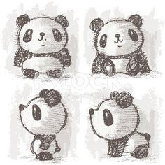Four poses of panda – banque d'illustrations vectorielles libre de droits