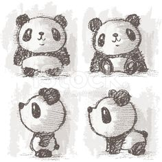 Four poses of panda – banque d'illustrations vectorielles libre de droits