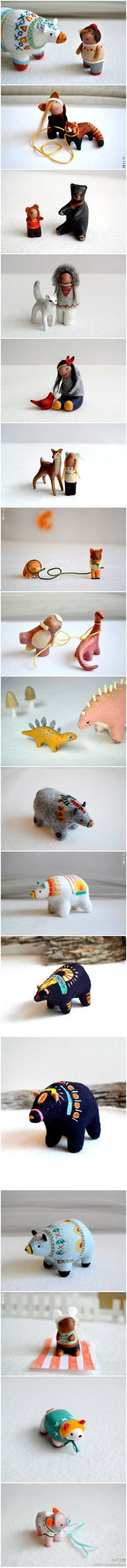 Polymer clay + felting for winter figures - people and animals.