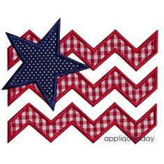 Chevron Flag Satin Applique - 4 Sizes! | 4th of July Applique Machine Embroidery Designs | Machine Embroidery Designs | SWAKembroidery.com