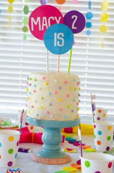 Polka Dot Birthday Party by Love The Da - Absolutely adorable. You could use the same idea for a boy too if you just changed the colors.