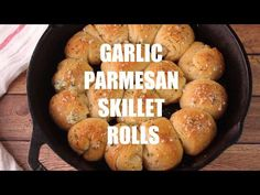 Garlic Parmesan Skillet Rolls Recipe - buttery rolls baked in a skillet for a fun pull-apart effect. Perfect with a bowl of soup or pasta! Easy Garlic Cheese Bombs, Buttery Rolls, Bread Recipes, Cooking Recipes, Garlic Parmesan, Garlic Butter, Biscuit Bread, Cast Iron Recipes, Cast Iron Cooking