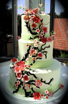 Cherry Blossom wedding cake perfect only square bottom layer and different colors