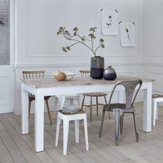 Table en bois d'acajou et teck rectangulaire - 180 x 90 cm - londres blanc Bois Dessus Bois Dessous   La Redoute