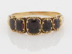 18k FIVE GARNET RING - Turn of the Century Antique - Stamped Solid Yellow Gold - Deep Rich Red Natural Gemstones - Quality Fine Estate Band.