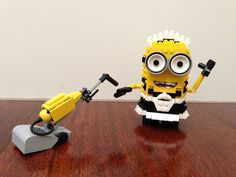 "Lego Admiral has created a smorgasbord of Lego Minions. The newest is ""Minion Maid Phil"" and features a little Minion dressed up as a dressed up as a maid… Lego Minion, Lego Lego, Lego Club, Lego For Kids, All Lego, Lego Design, Legos, Emoji, Lego Sculptures"
