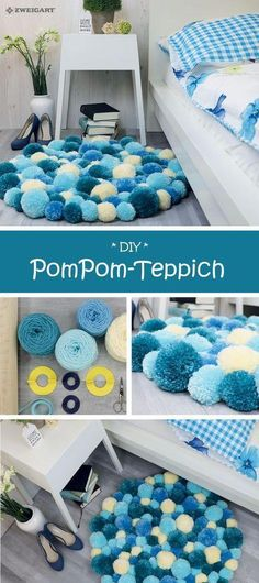 Mar 2019 - Descubre ideas para hacer manualidades y decorar con pompones. See more ideas about Pom pom crafts, Diy and crafts and Crafts. Diy Décoration, Easy Diy, Sell Diy, Tapetes Diy, Diy Casa, Pom Pom Crafts, Diy Pom Pom Rug, Yarn Crafts, Creation Deco