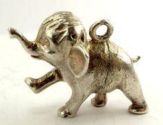 Large Vintage Silver Charm Baby Elephant JUNGLE BOOK 1975 Fob Pendant