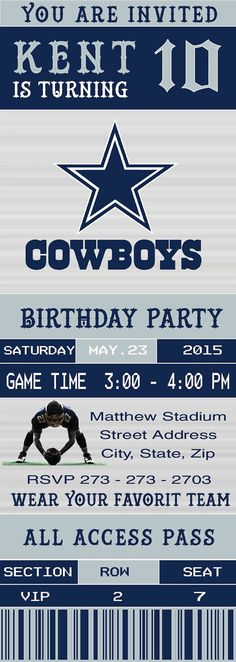Dallas cowboys ticket birthday party invitations printable dallas cowboys birthday invitation football ticket by luckystar273 filmwisefo Gallery