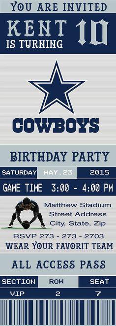 89cfe14fa5c20cdabfac8a1137b7441f ticket invitation birthday invitations dallas cowboys nfl custom ticket invitation by kenleighbugdesigns,Dallas Cowboys Birthday Invitations