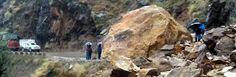 Landslides block Batote-Kishtwar highway at Koura Pani on Sunday.  Excelsior/Tilak Raj