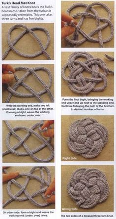 KNOTS PATTERNS: Knotted Coasters and Trivets; Have a little more yarn left to use? These coasters and trivets are a great way to put those bits and pieces to good use. Rope Crafts, Yarn Crafts, Diy And Crafts, Arts And Crafts, Handmade Crafts, Knitting Patterns, Macrame Patterns, Spool Knitting, Bracelets