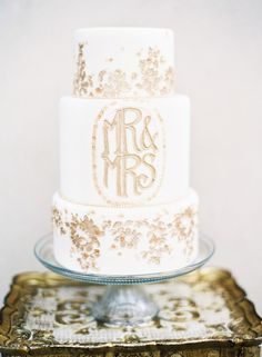 Snippets, Whispers & Ribbons - Wedding Cakes & Toppers White Wedding Cake with Gold Mr & Mrs