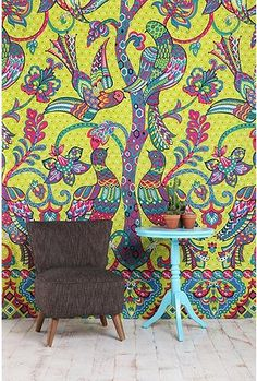Peacocks and Trees Tapestry. Would be beautiful on an outdoor patio!
