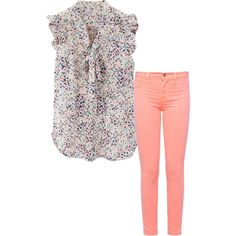 Love the airy and feminine top paired with the colored skinny jeans. This could transition from office to weekend wear.