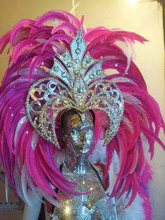 Shiny Mirror Headdress Cabaret Showgirl Drag queen Samba with pink feather Showgirl Costume, Vegas Showgirl, Samba Costume, Mardi Gras Costumes, Carnival Costumes, Carnival Headdress, Drag Queen Costumes, Carnival Dancers, Rio Carnival
