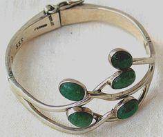Vintage Modernist Mexican Green Stone Hinged Sterling Bracel