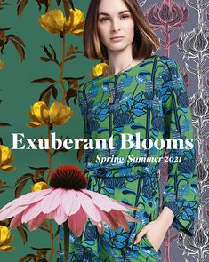 Strange scattered blooms, soaring illustrative beanstalks and folky graphic motifs, bring a modern edge to this Spring/Summer 2021 Print trend. Visit Patternbank to explore the trend story. Spring Summer Trends, Spring Fashion Trends, Design Lab, Diy Design, Fashion Forecasting, Fashion 2020, Color Trends, Fashion Prints, Textile Design