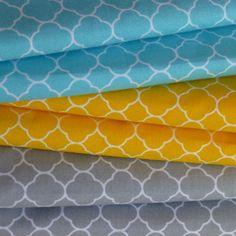 tissu imprimé 100% coton motifs géométriques turquoise et blanc - imprimé graphique