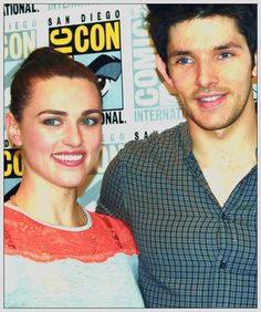 Colin Morgan and Katie McGrath at San Diego Comic-Con 2012.