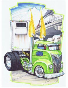 Truckin art! Cartoon Sketches, Cartoon Pics, Cartoon Art, Big Rig Trucks, Cool Trucks, Cool Cars, Car Art, Art Cars, Rat Fink