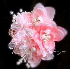 Light Pink Flowered Hair Clip by ManaiaBabyDesigns on Etsy, $10.75