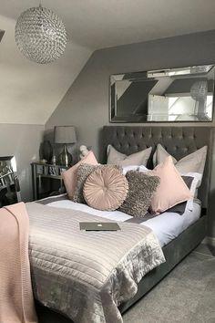 Grey Bedroom Decor Ideas Grey and White Bedroom Purple Grey Bedroom Design, Grey Bedroom Decor, Stylish Bedroom, Room Ideas Bedroom, Small Room Bedroom, Girl Bedroom Designs, White Bedroom, Classy Bedroom Ideas, Classy Ideas