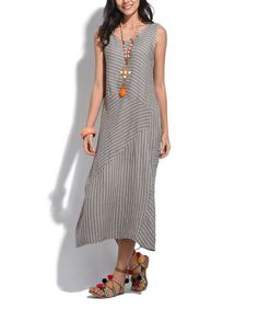 This Taupe Stripe Linen Sleeveless Dress is perfect! #zulilyfinds
