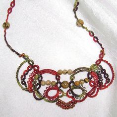 """Detail of """"Vision"""" tatted necklace in hand dyed thread by Yarnplayer on Flickr #tatting #jewelry"""