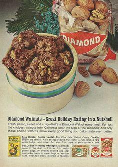 DIAMOND WALNUTS Original 1964 Vintage Color Print Ad