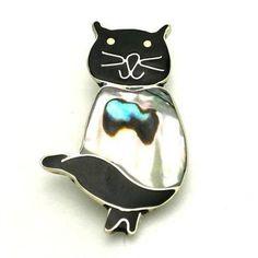 Alpaca Silver Abalone Cat Pin - Artisana