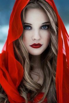 Girl wrapped in red & wearing red lipstick