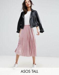 ASOS TALL Pleated Midi Skirt in Velvet