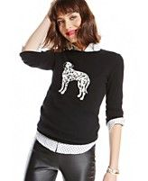 Charter Club Cashmere Dalmatian Crew-Neck Sweater