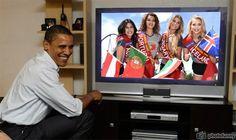 Leslie Ann Braumann Miss Austria, Ana Claudia Ornelas Bomfim Miss Portugal, Sarah Stroh Miss Hungary and Arna Yr Jonsdottir Miss Iceland watch live Obama