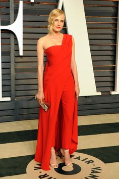 Pin for Later: 24 Stars Who Proved Pants Have a Place on the Red Carpet Too Diane Kruger The actress mixed things up at the Vanity Fair Oscars party with a Donna Karan Atelier jumpsuit and graphic clutch.