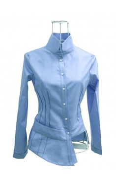 Chemise coton satin bleu CAMILLE Ken Okada
