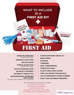 What to include in a First Aid Kit? A comprehensive list of items that you should include in the first kit in your home. Learn about each individual item in our website: http://insidefirstaid.com/personal #home #health #tips