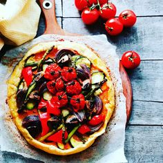 This tasty Savoury Roasted Vegetable Galette will bring instant cheer to your Christmas buffet and suit any vegan or vegetarian guests. Christmas Buffet, Vegan Christmas, Sweet Potato Slices, Baby Tomatoes, Nutritional Yeast, Vegetable Pizza, Feta, Dairy Free, Roast
