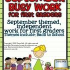 "September  Busy Work for First Graders!  DIBELs, reading benchmarks, paperwork, etc... Every day is a busy day for teachers.  These ""Busy Work"" pag..."