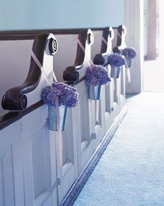 Galvanized buckets, which can be found at hardware stores, are filled with moistened floral foam, which keeps hydrangeas fresh. Loop a thin but sturdy ribbon, such as grosgrain or seam binding, around the top of the pew, then string it through the bucket handles, and tie. Cut ribbon ends diagonally.