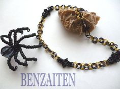 Handmade necklace Black Widow chainmaille by BenzaitenBulgaria, $40.00