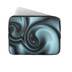 Unique, trendy and pretty laptop protection sleeve. Beautiful embossed looking image of light and dark blue gray modern abstract deco swirling design. For the fashionista and fashion diva, the hip trend setter, vintage retro motif, psychedelic modernism or digital nouveau deco art lover. Cute and fun birthday gift or Christmas present. Classy, chic, original and cool protective laptop sleeve for the girly girl or the professional and sophisticated business man or woman.