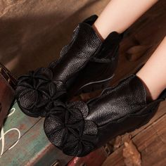 SOCOFY Flower Soft Leather Ankle Vintage Slip On Flat Boots