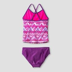 Girls' Tribal Tankini Set With Crochet Shorts Cat & Jack - Purple XL, Girl's