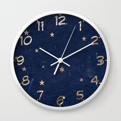 Good night - Leaf Gold Stars on Dark Blue Background Wall Clock by uteb