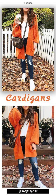 6f697e2dd3b0 $47.99 Chicnico Casual Oversize Orange Cadigan Orange Cardigan, Bishop  Sleeve, Closet Designs, Sweater