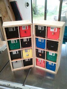 Organizador com Disquetes #diy #floppydisk #disquete #reciclar #reaproveitar