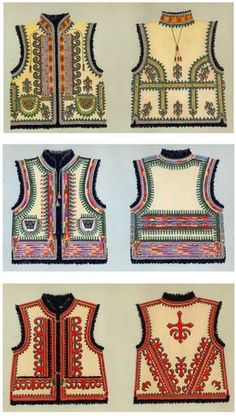 Hello all, Today I will restrict my writing to one garment, the Kyptar, also spelled Keptar. This is the sheepskin vest which. Hippy Fashion, Folk Fashion, Ethnic Fashion, Ukrainian Dress, Ukrainian Art, Textile Prints, Textiles, Costumes Around The World, Ethno Style